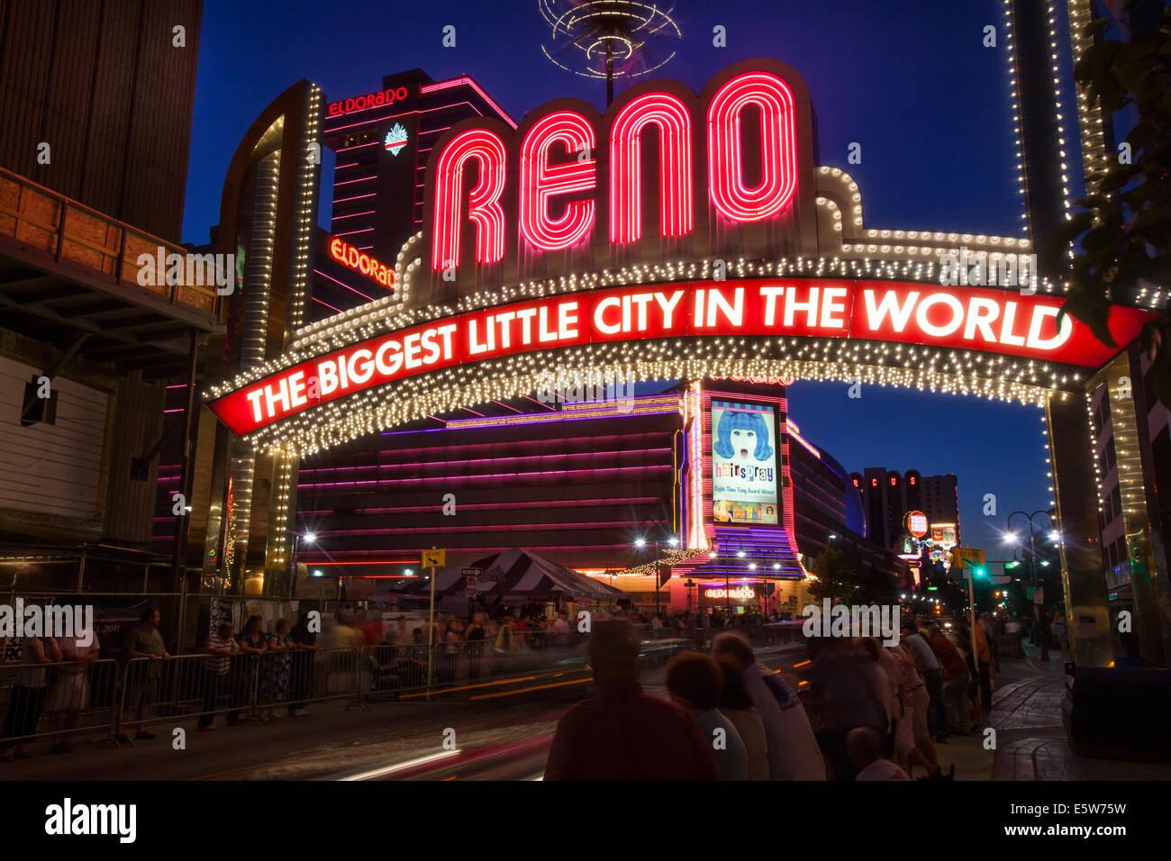 Reno Sign. Spectacular lights of Reno, Nevada. Iconic Reno Sign - Stock Image
