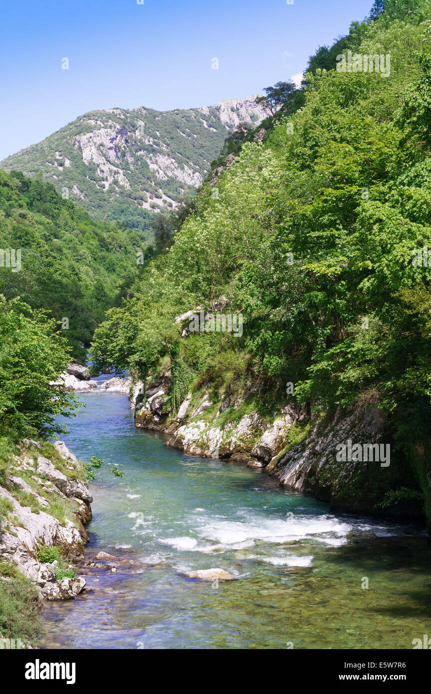 The Río Cares valley near Arenas de Cabrales , Asturias, Northern Spain, Europe - Stock Image