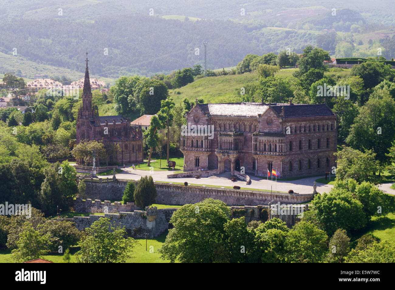 View of El Palacio de Sobrellano and church, Comillas,  Cantabria, Northern Spain, Europe - Stock Image