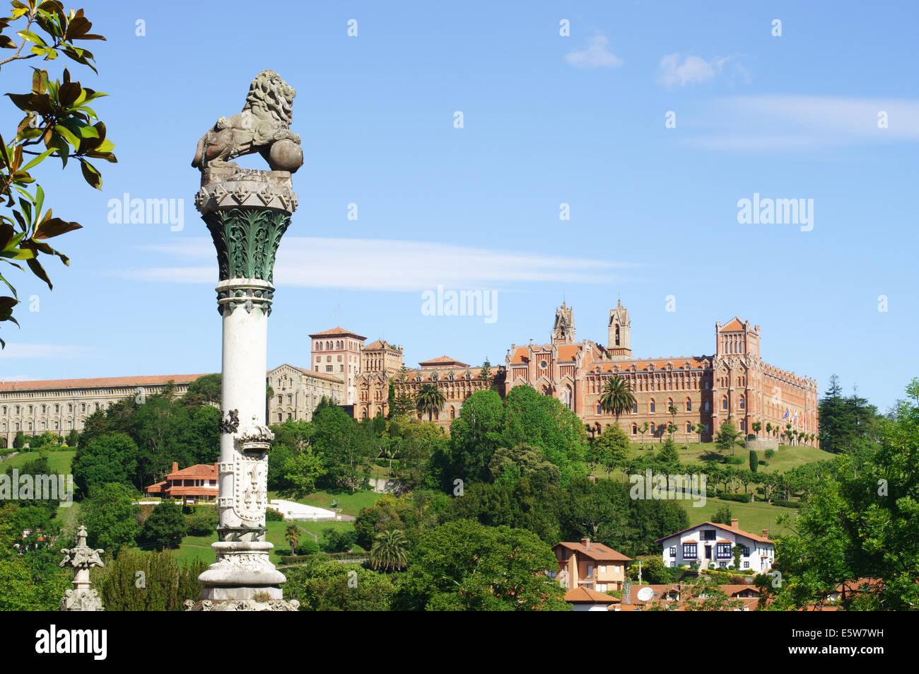 The Universidad Pontificia seen from El Palacio de Sobrellano, Comillas,  Cantabria, Northern Spain, Europe - Stock Image