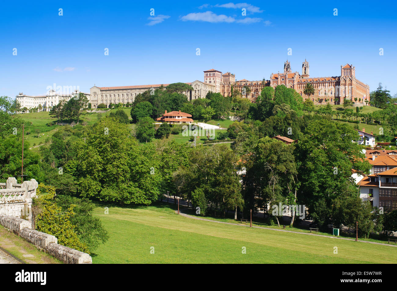 The buildings of the Universidad Pontificia  or Pontifical University, Comillas,  Cantabria, Northern Spain, Europe - Stock Image