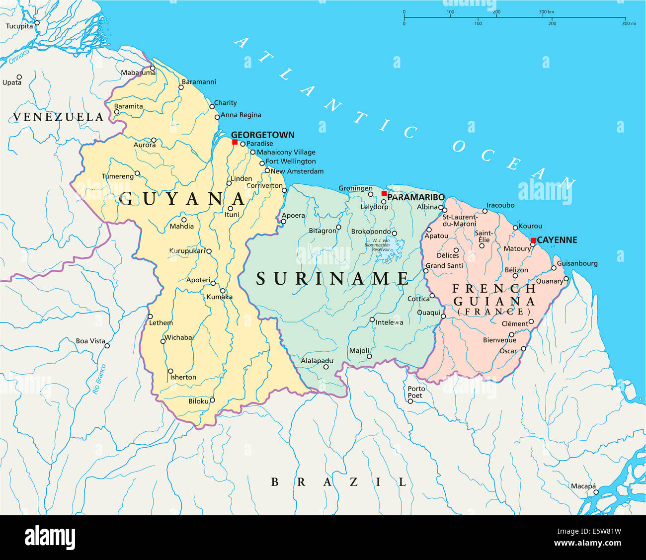 Guyana Suriname and French Guiana Political Map Stock Photo