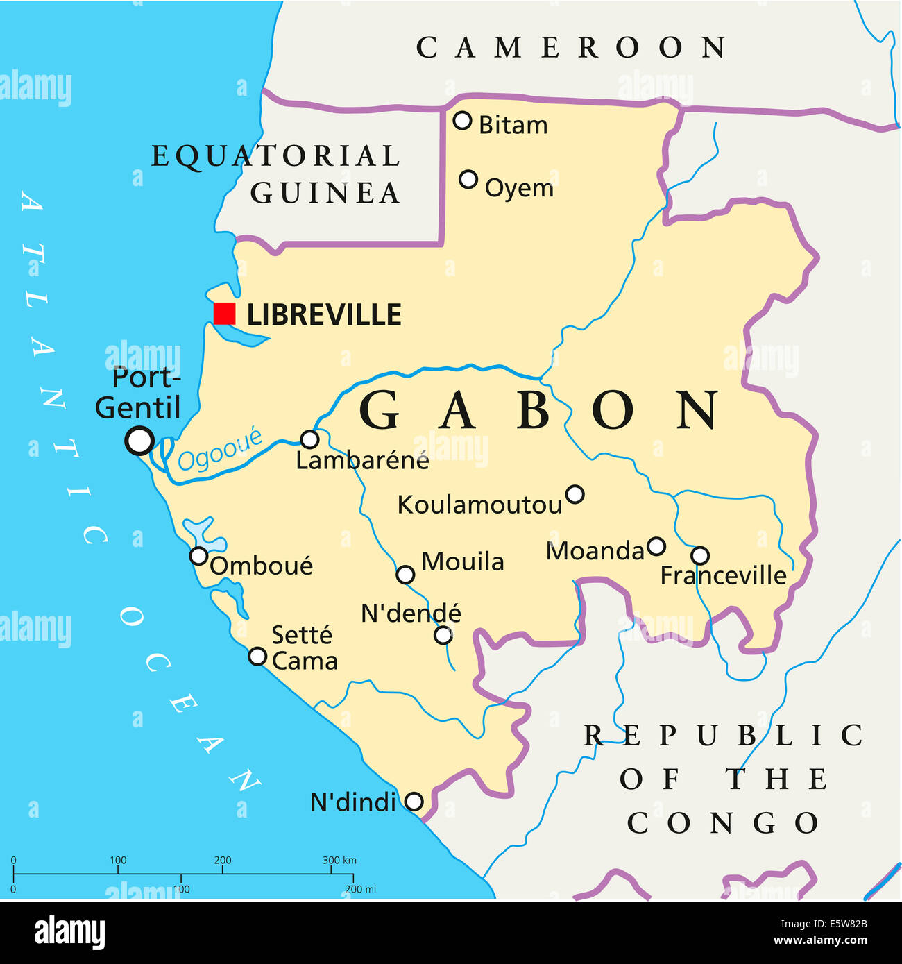 Gabon Political Map with capital Libreville national borders most