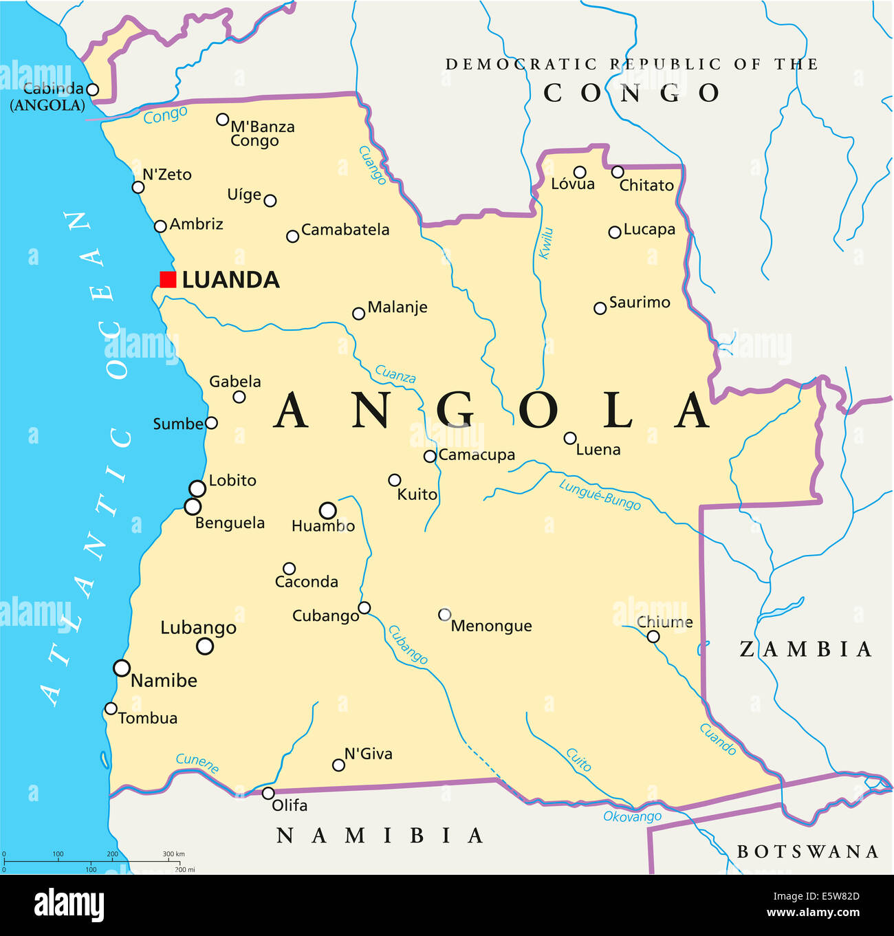 Angola Political Map with capital Luanda, with national borders, most important cities, rivers and lakes with English - Stock Image