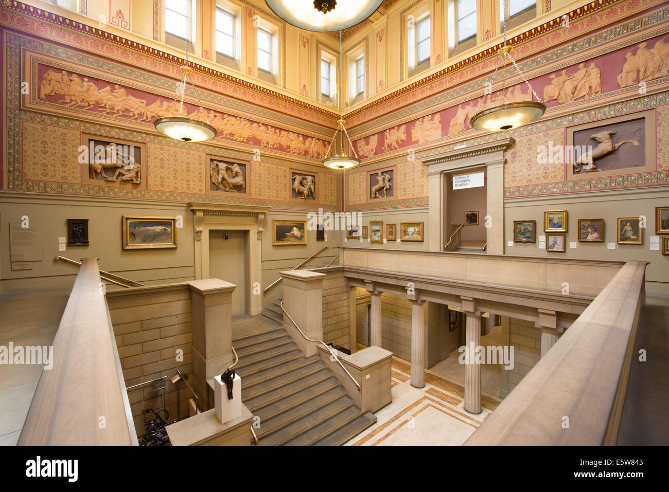 The inside of the Grade I listed Manchester Art Gallery on Mosley Street in city centre Manchester, UK (Editorial Stock Photo