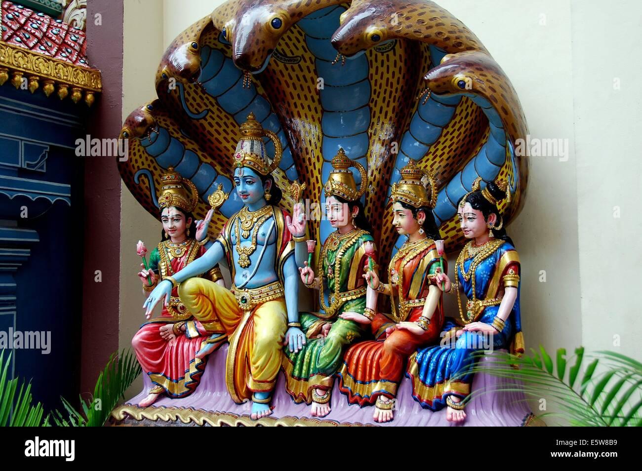 SINGAPORE: Colourful Hindu deities at the Sri Krishan temple on the Albert Mall * - Stock Image