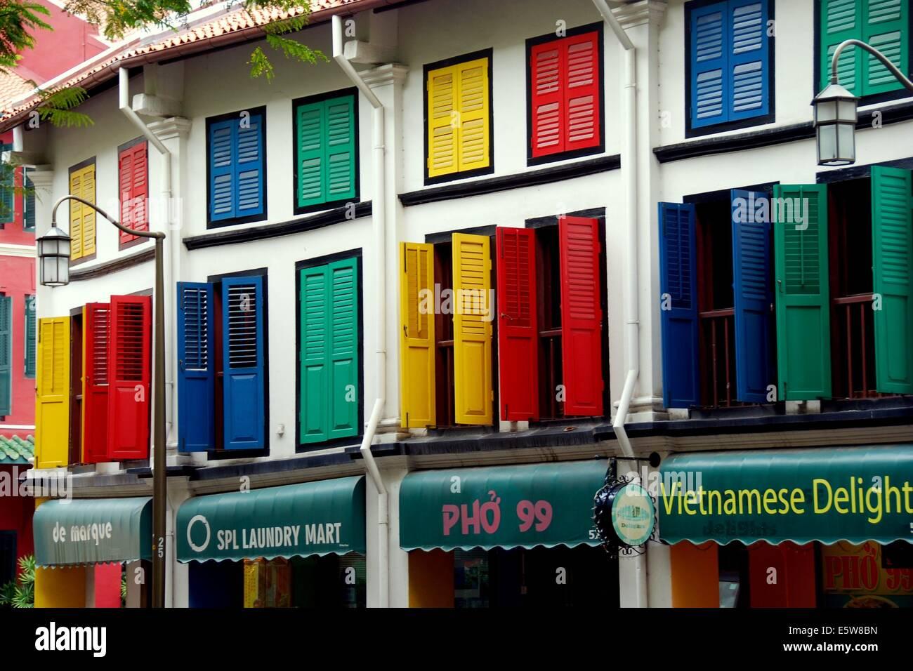 decorate shop SINGAPORE: Multi coloured shutters decorate former shop houses on  decorate shop
