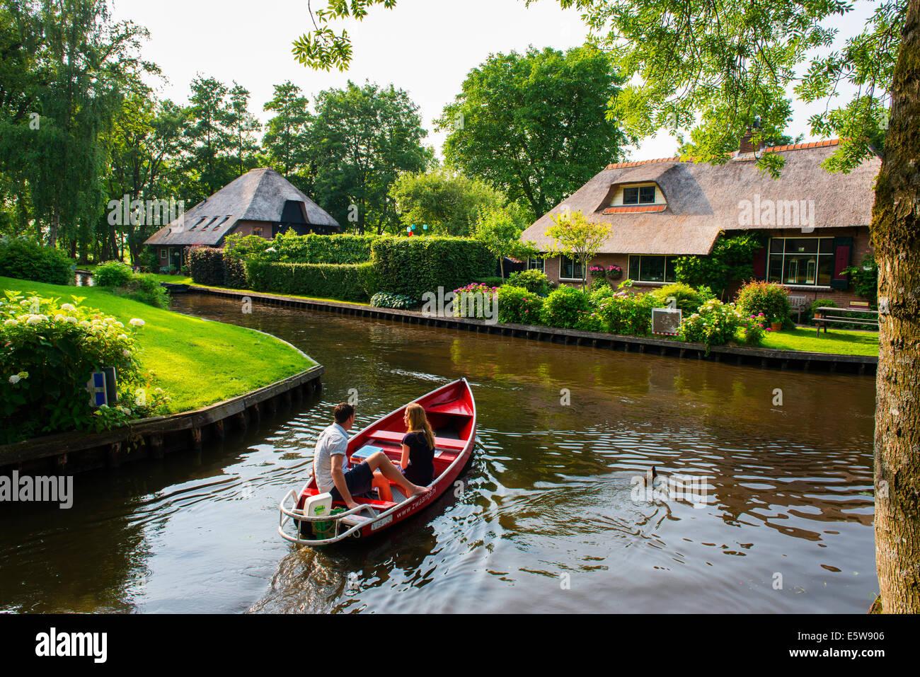 Giethoorn canals, Holland, netherlands - Stock Image