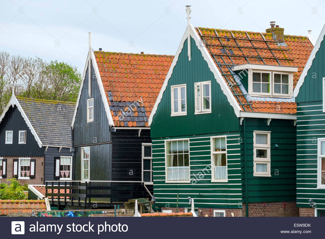 Traditional wooden houses in Marken, North Holland, Netherlands - Stock Image