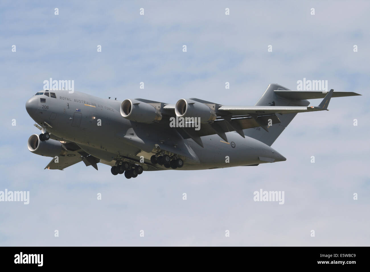 A RAAF C-17 transport aircraft on final approach to landing. - Stock Image