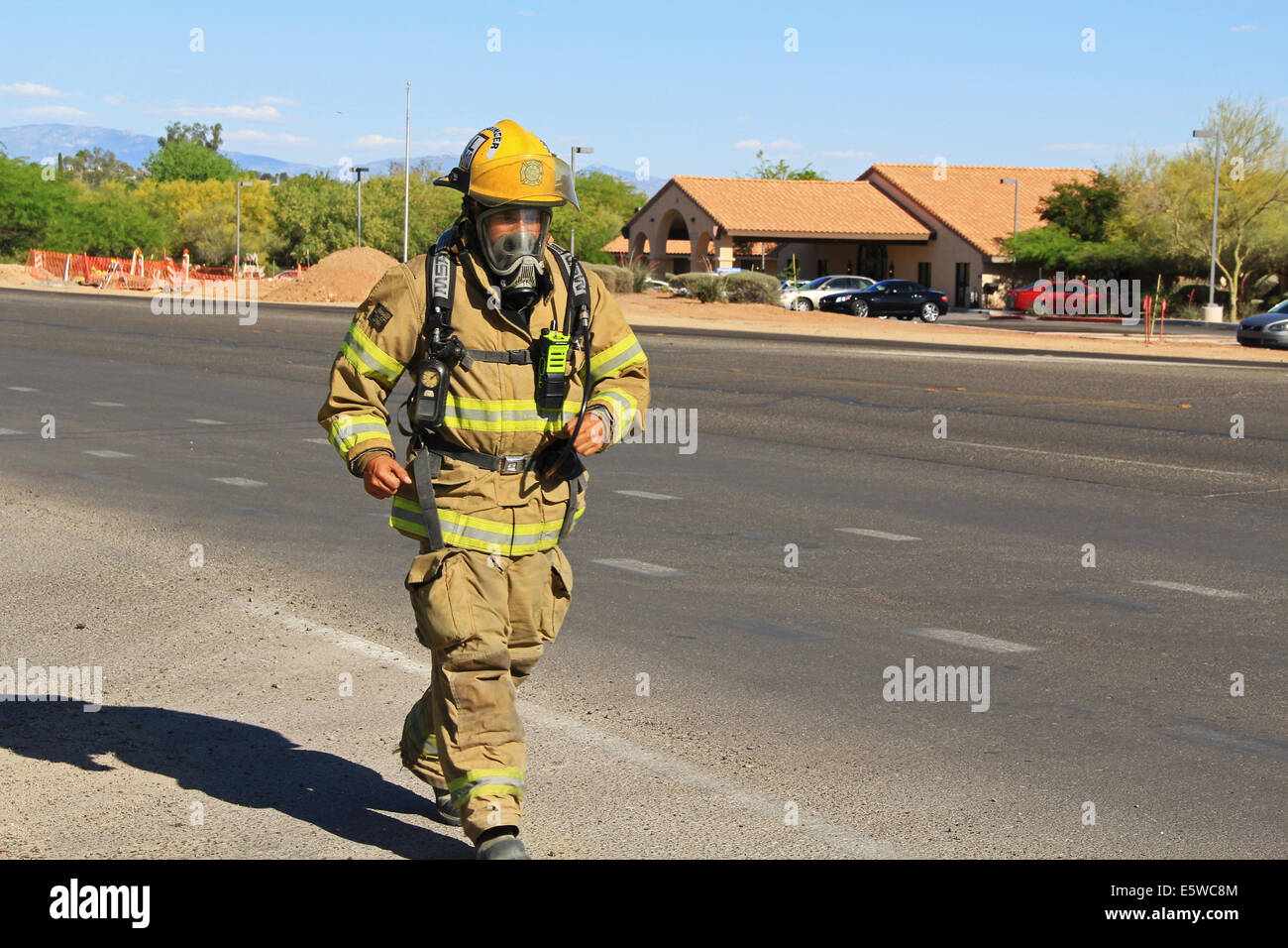 Firefighter Training in Protective Suit - Stock Image