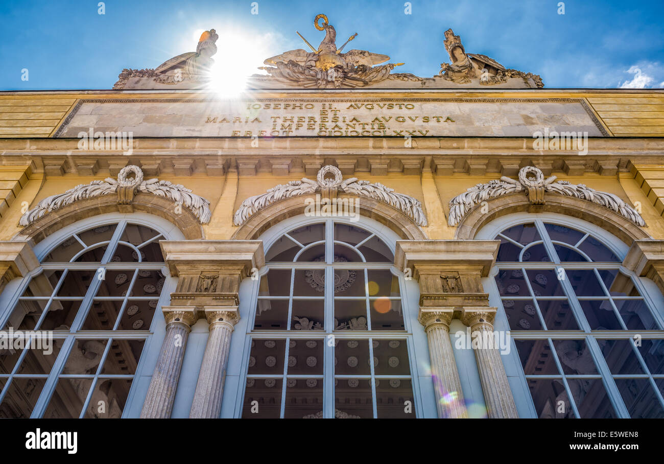 Schonbrunn Palace Garden Gloriette in Vienna. It was used as a dining and festival hall  for emperor Franz Joseph. - Stock Image
