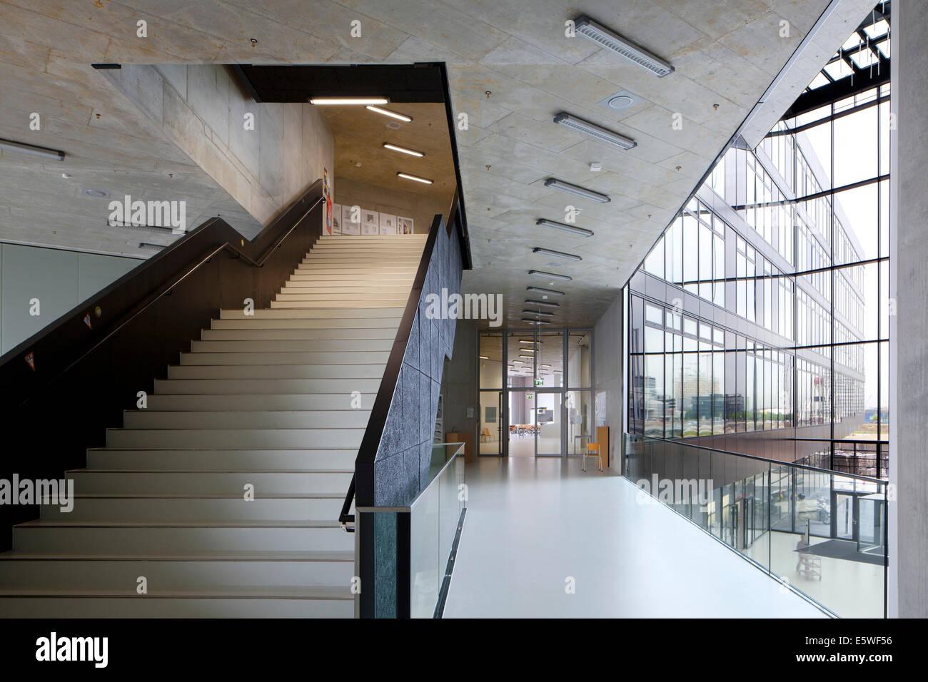 Staircase, HafenCity Universität Hamburg university, Hamburg, Germany - Stock Image