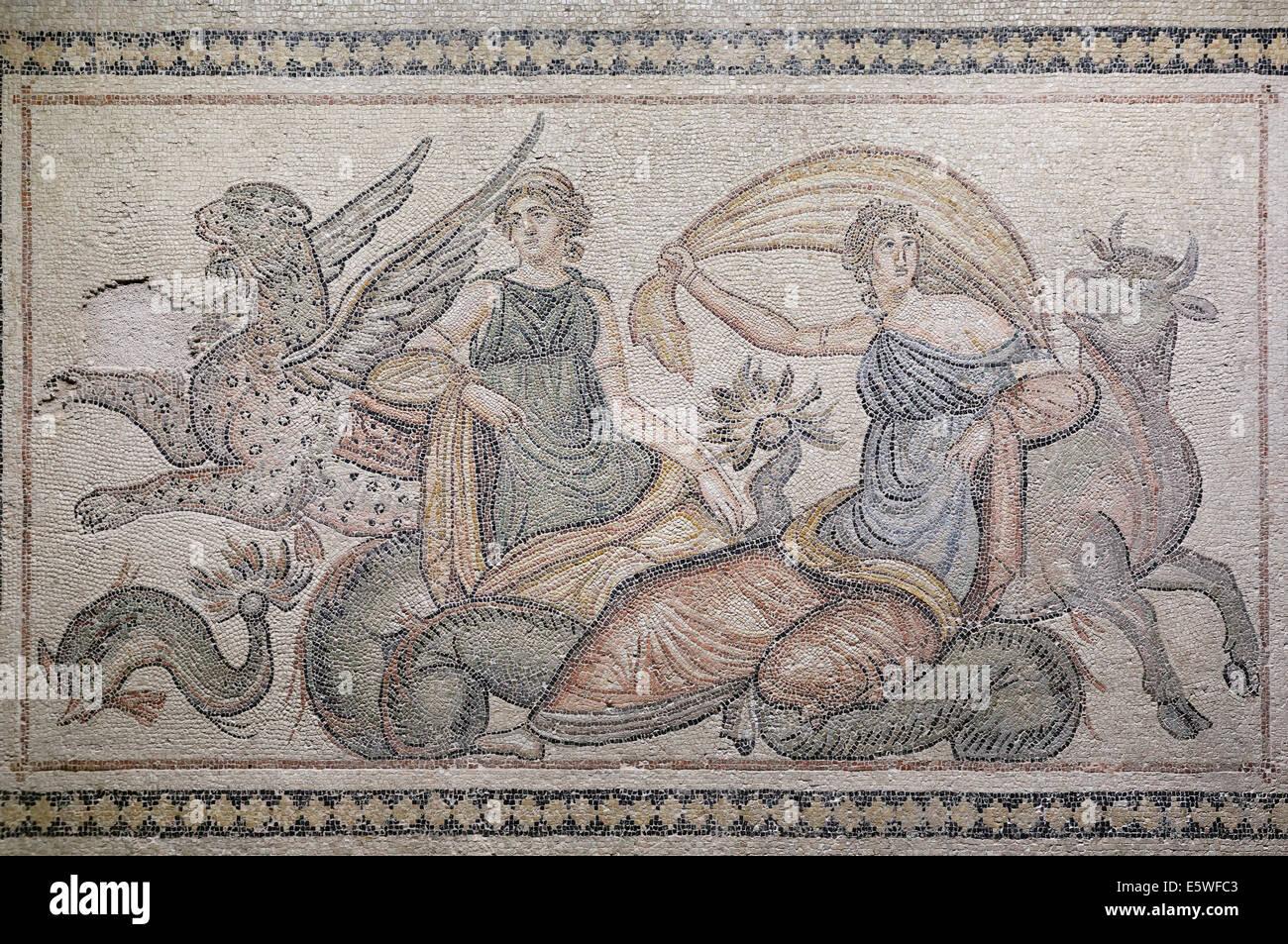 Abduction of Europa, mosaic from Zeugma, Zeugma Mosaic Museum, Gaziantep, Southeastern Anatolia Region, Anatolia, - Stock Image