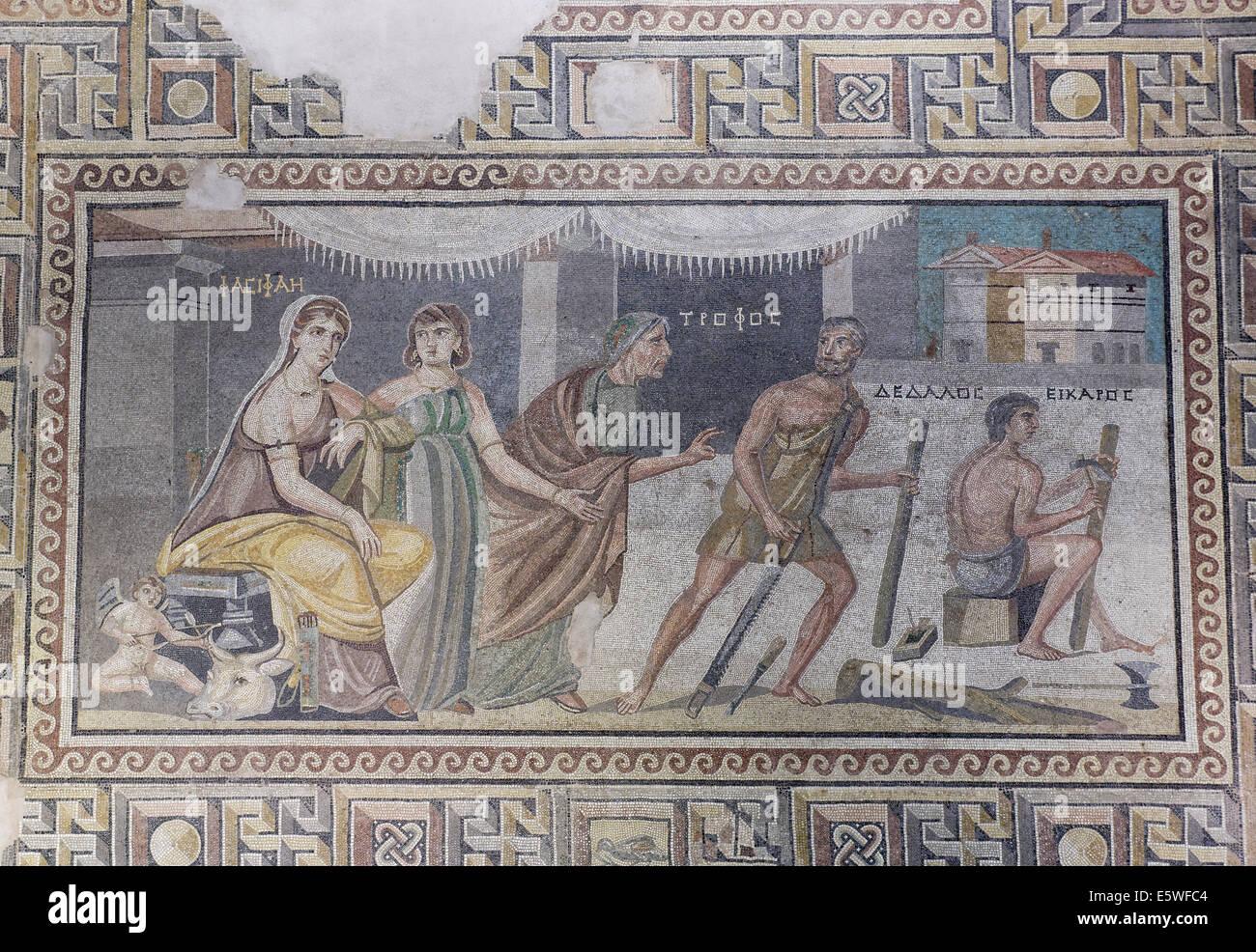 Mosaic, Pasiphaë and Daedalus, floor mosaic from Zeugma, Zeugma Mosaic Museum, Gaziantep, Southeastern Anatolia - Stock Image