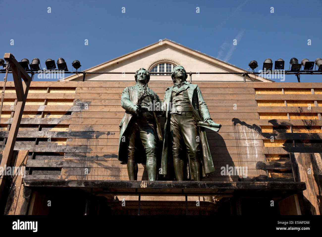 The Goethe-Schiller Monument as part of a theater Scenic design and the Deutsches Nationaltheater in Weimar, Thuringia, - Stock Image