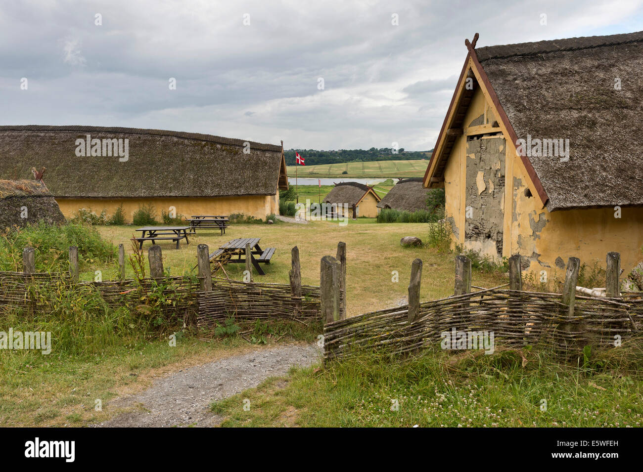 Reconstructed farm with nine houses of a large-scale farmer from the Viking Age, Viking Center Fyrkat, Fyrkat, Hobro, - Stock Image