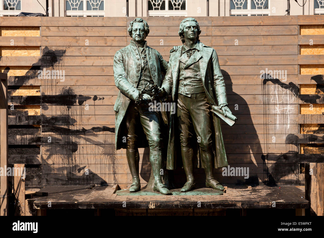 The Goethe-Schiller Monument as part of a theater Scenic design in   Weimar, Thuringia, Germany, Europe - Stock Image