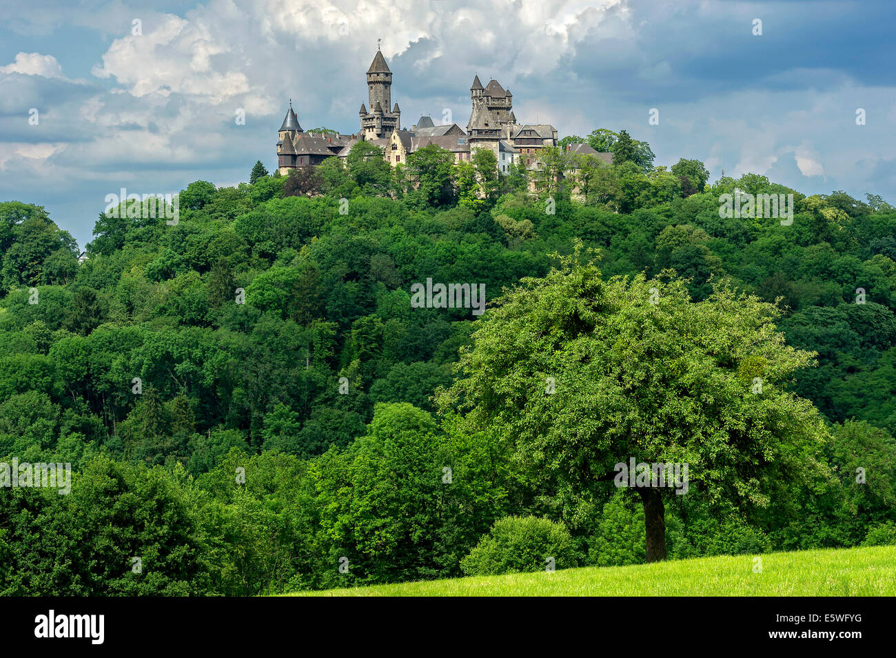 Castle towers, Hubertus Tower, New Castle Keep, Georg Tower and Alter Stock tower, in the overall view of Castle - Stock Image