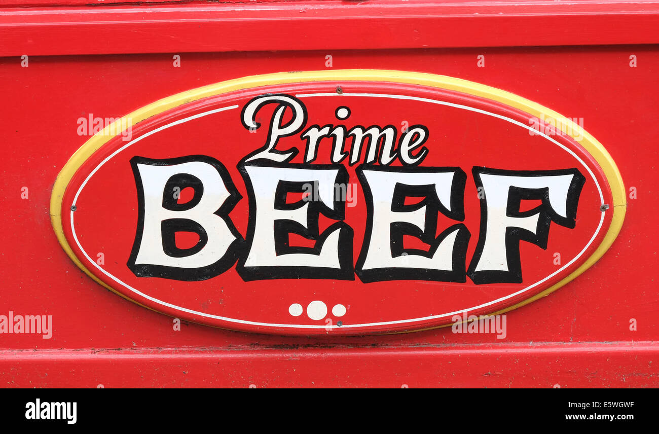TRADITIONAL BUTCHER SHOP SIGN PRIME BEEF - Stock Image