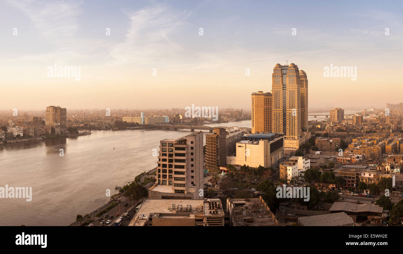 Cairo, Egypt - with Fairmont Nile City Hotel building by the Nile River in the late afternoon - Stock Image