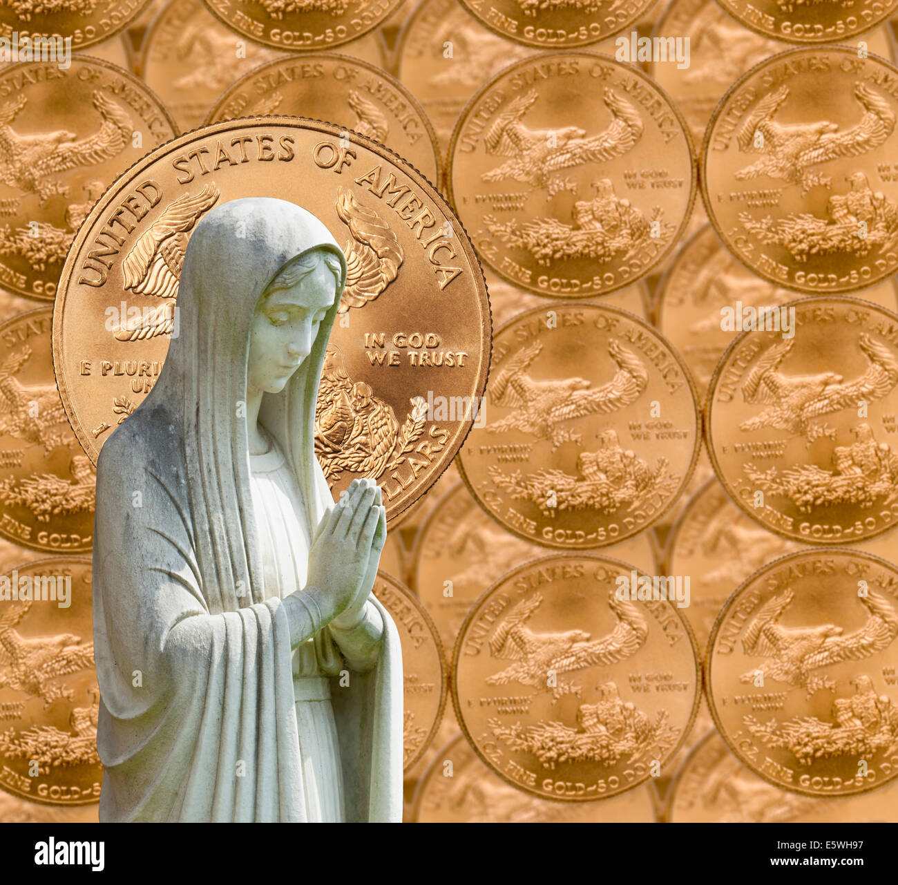 Virgin Mary with US currency background - linking religion with money or wealth concept - Stock Image