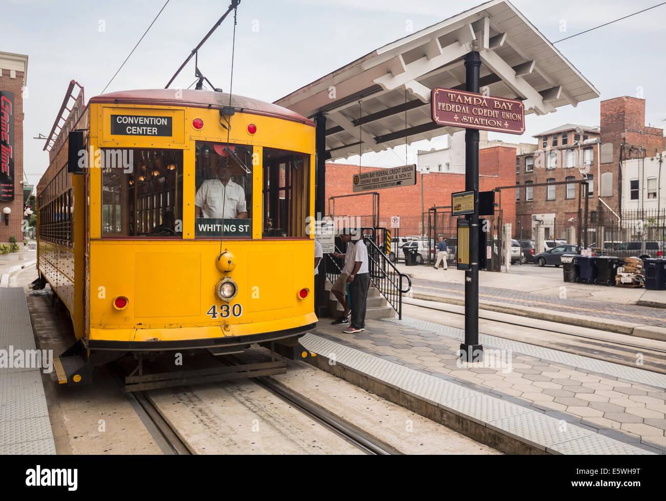 TECO Railcar tramway train in modern station in Ybor City, Tampa, Florida, USA - Stock Image