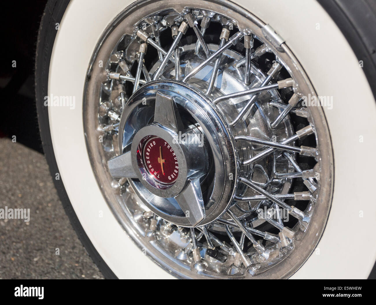 White-wall tire on Ford Thunderbird car, USA - Stock Image