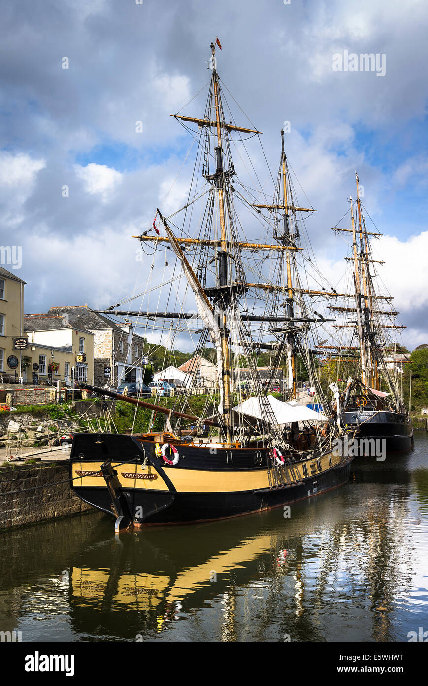 old sailing ships in charlestown harbour uk stock photo 72477604