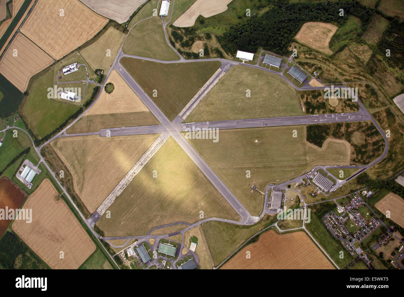 aerial view of the disused Wroughton Airfield near Swindon, Wiltshire, UK - Stock Image