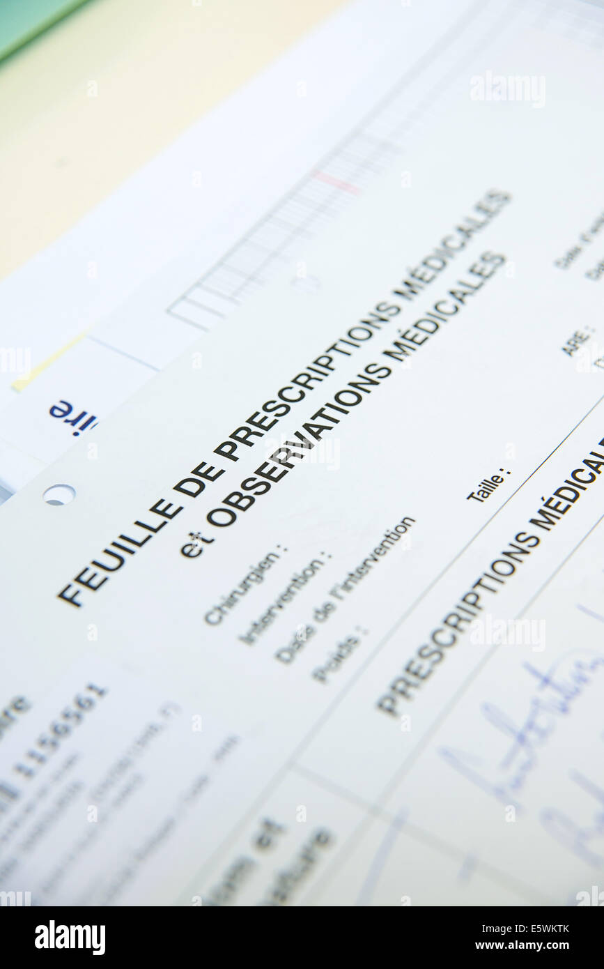 Medical record - Stock Image