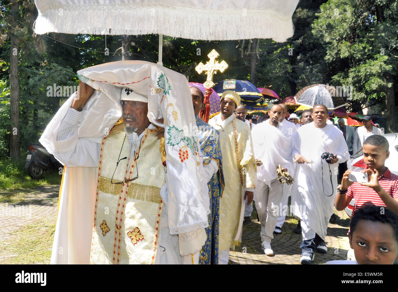 Milan (Italy), celebration for the Nativity of Our Lady in the Orthodox church of the Eritrean community - Stock Image