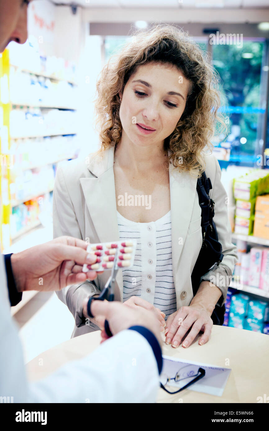 Interior of a chemist's shop - Stock Image
