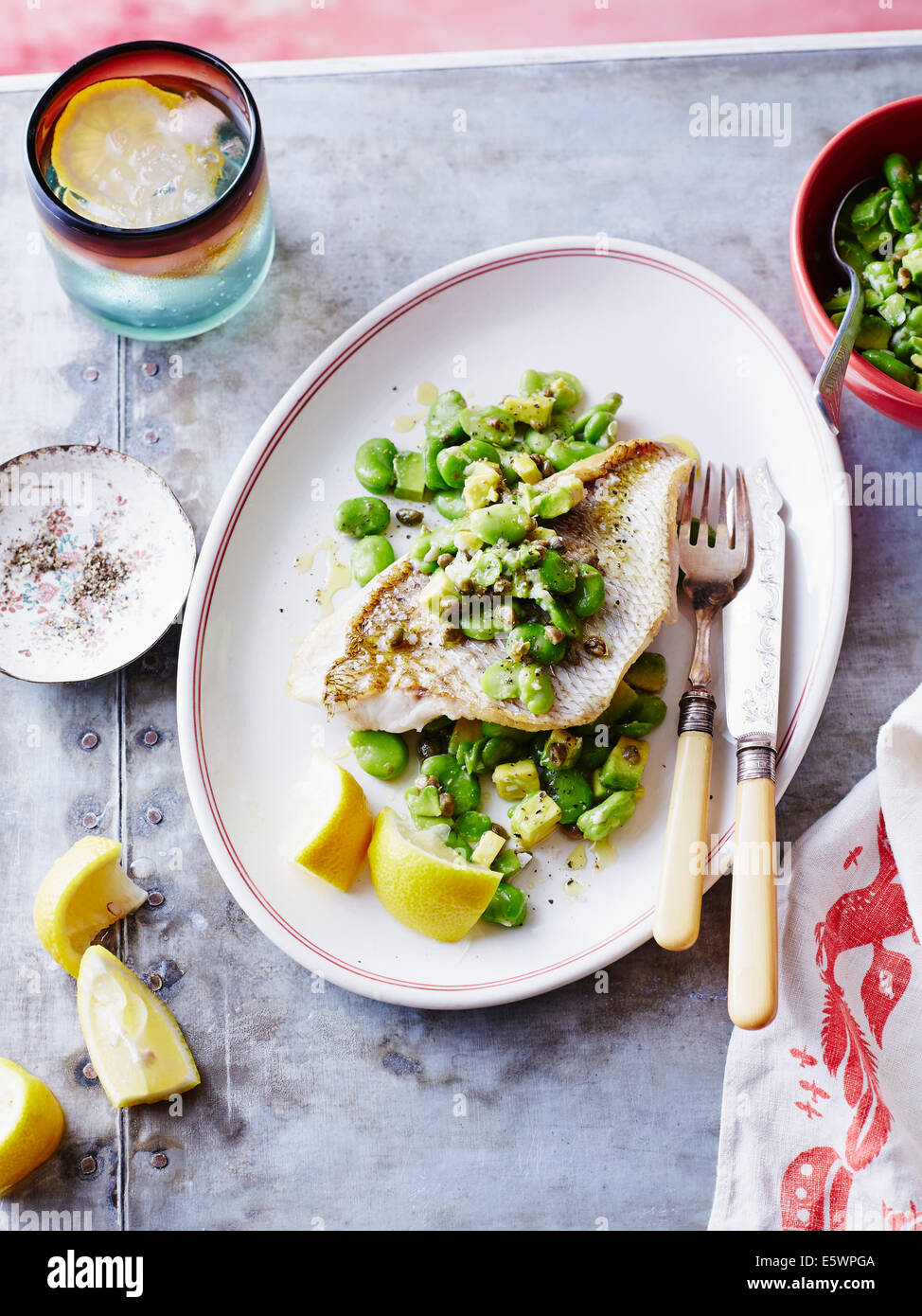 Steamed snapper fish with beans - Stock Photo