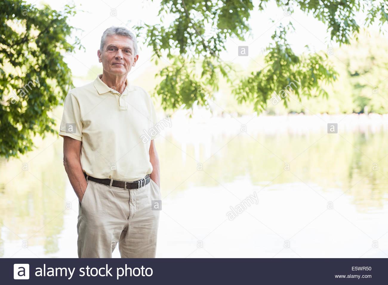 Portrait of senior adult man - Stock Image