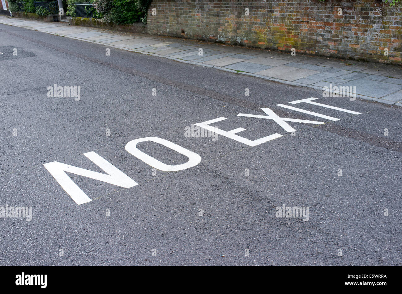 White painted no exit road markings UK - Stock Image