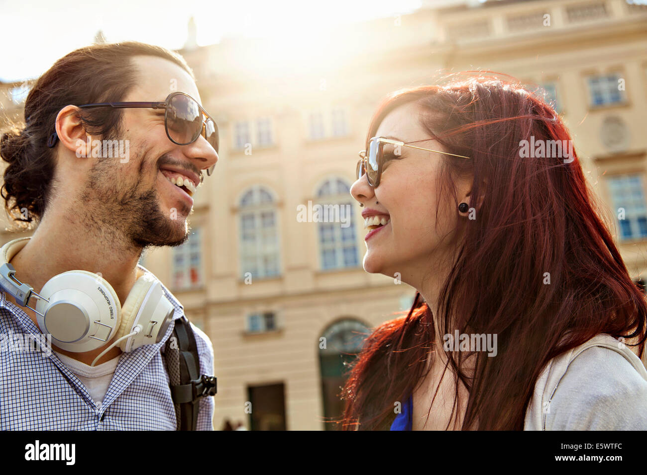 Young adult couple, face to face - Stock Image