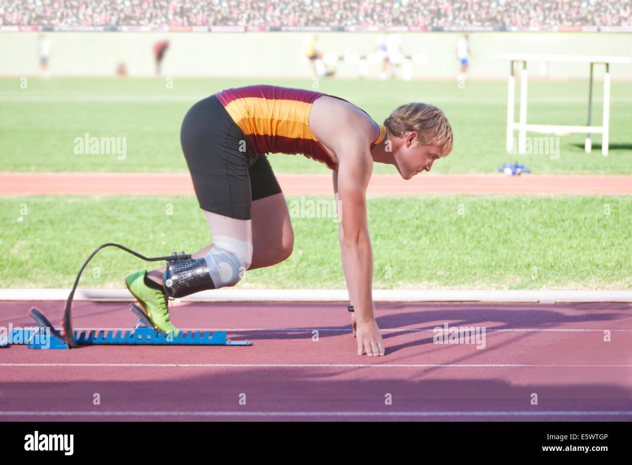 Sprinter in start position - Stock Image