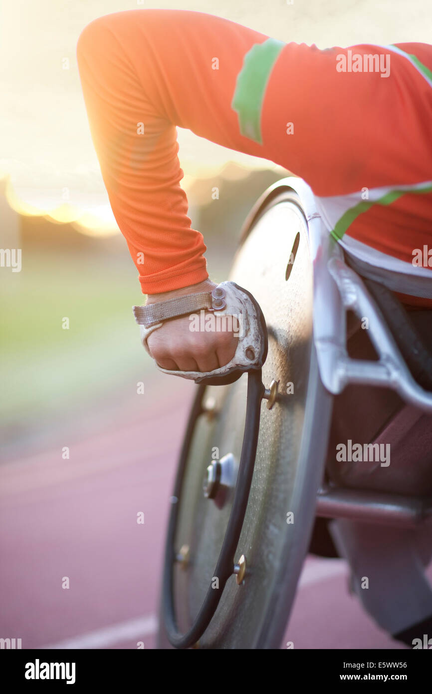 Close up of arm of athlete in para-athletic competition - Stock Image