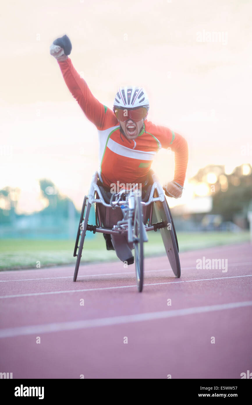 Winning athlete in para-athletics competition - Stock Image