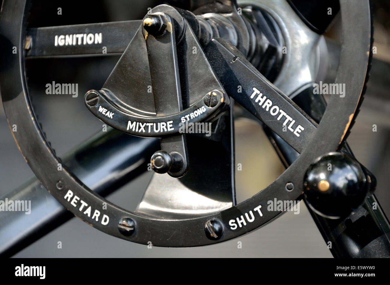 1912 Vauxhall A Type classic car - steering wheel and controls - Stock Image