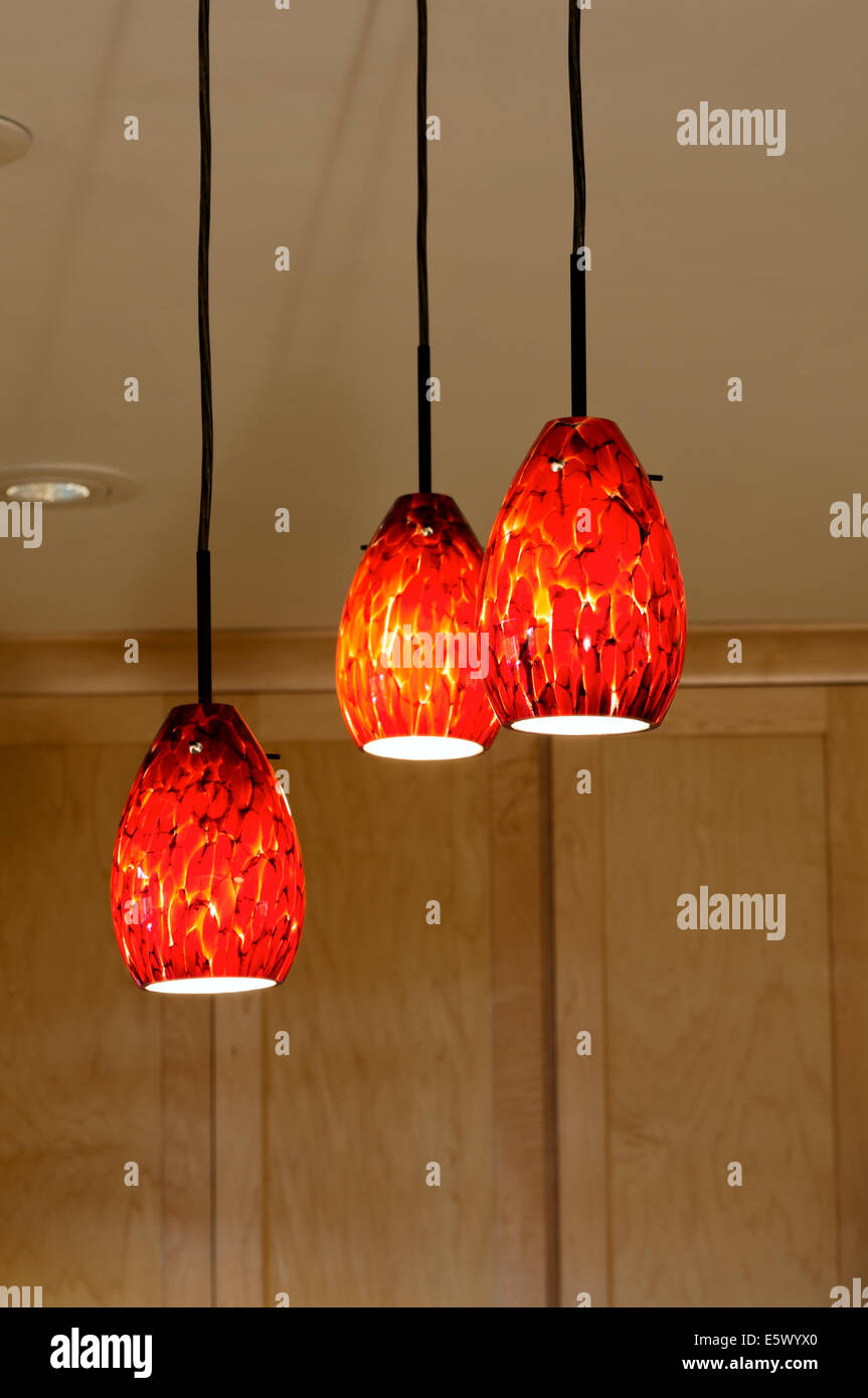 Decorative Glass Pendant Lights Hanging From Kitchen Ceiling And Stock Photo Alamy
