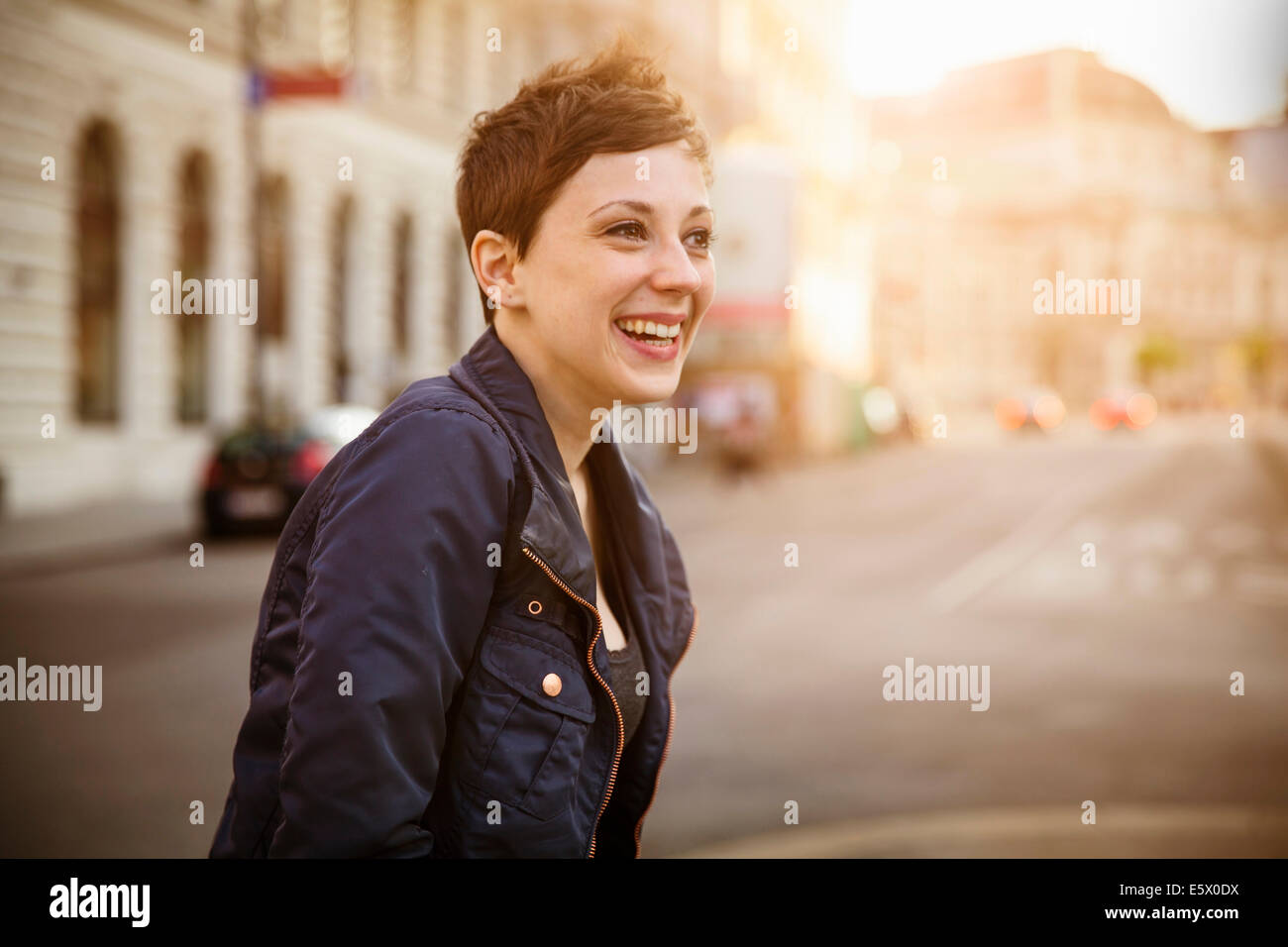 Portrait of young adult woman - Stock Image