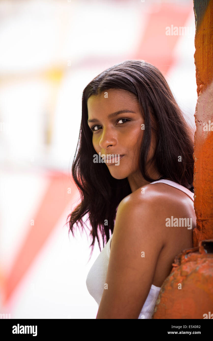 Portrait of sultry young woman, Rio de Janeiro Brazil - Stock Image