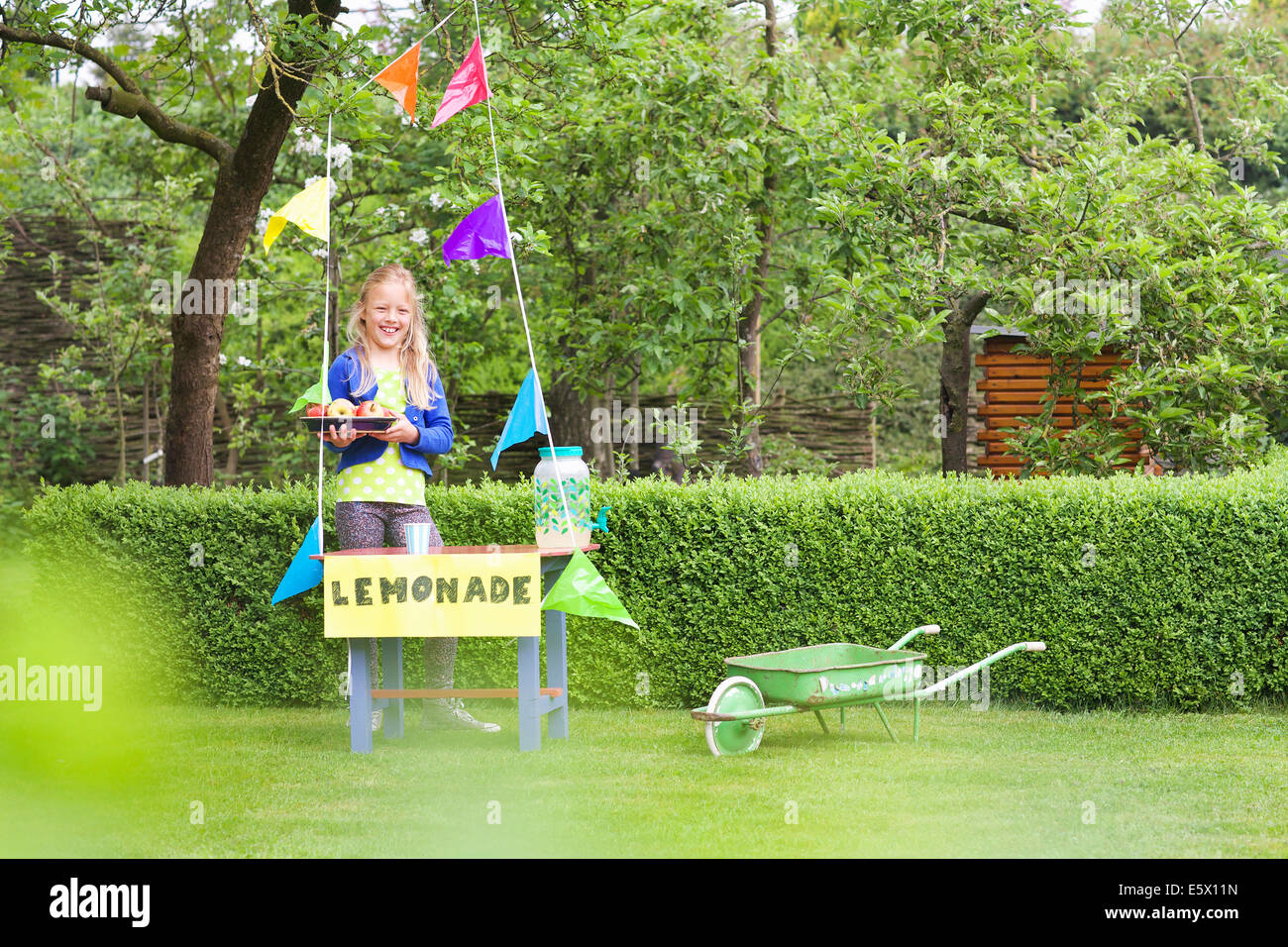 Lemonade stand girl with tray of apples behind her stand Stock Photo