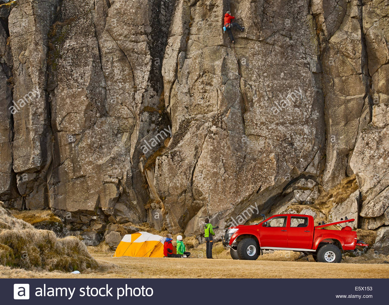 Male climber on sports climb, Hnappavellir, South East, Iceland - Stock Image