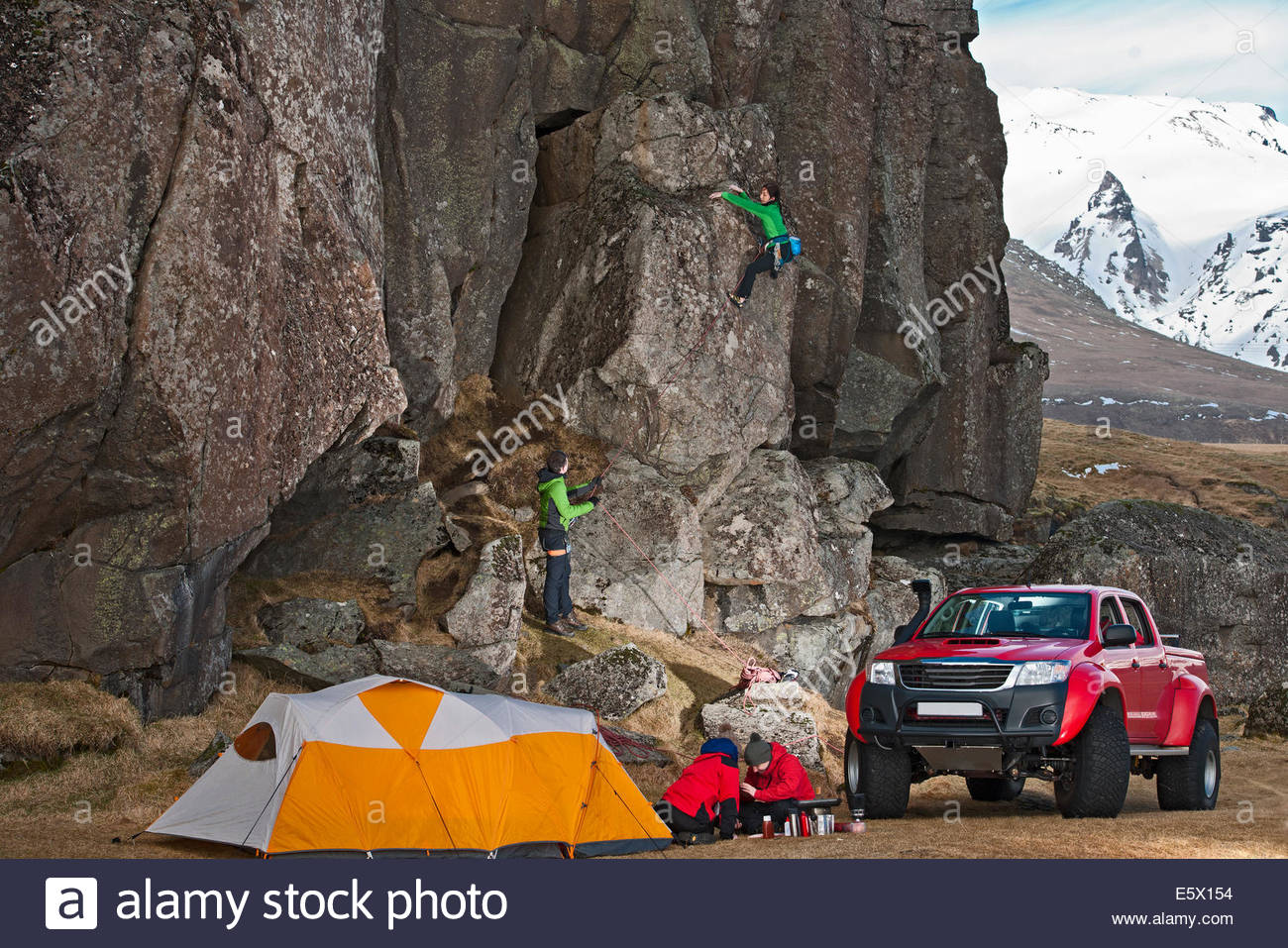 Female climber on a sports climb, Hnappavellir, South East, Iceland - Stock Image