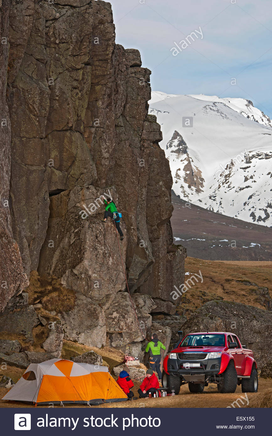 Female climber on a sports climb, Hnappavellir, South East, Iceland - Stock Image