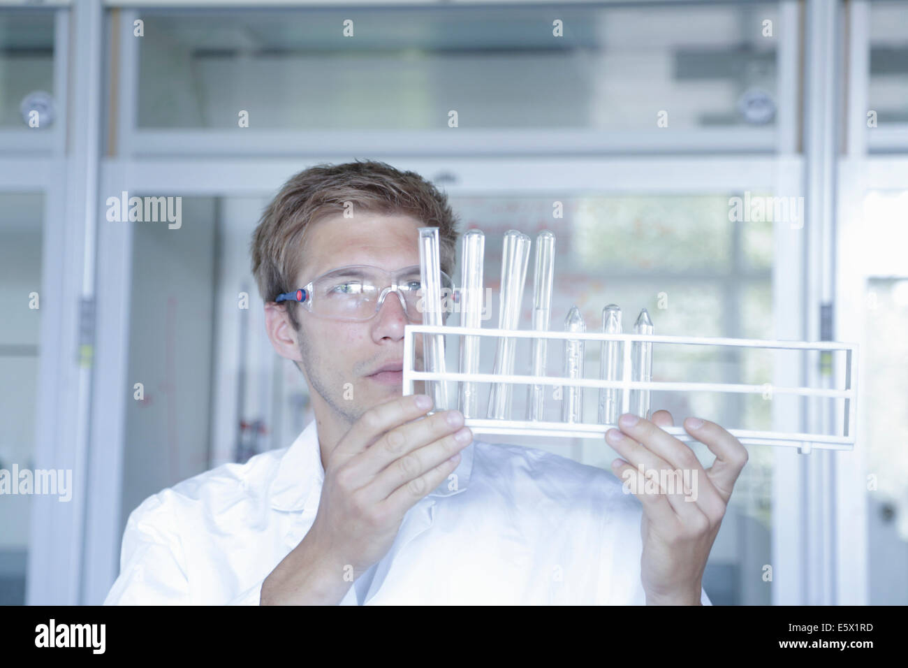 Young male scientist analyzing test tubes in lab - Stock Image