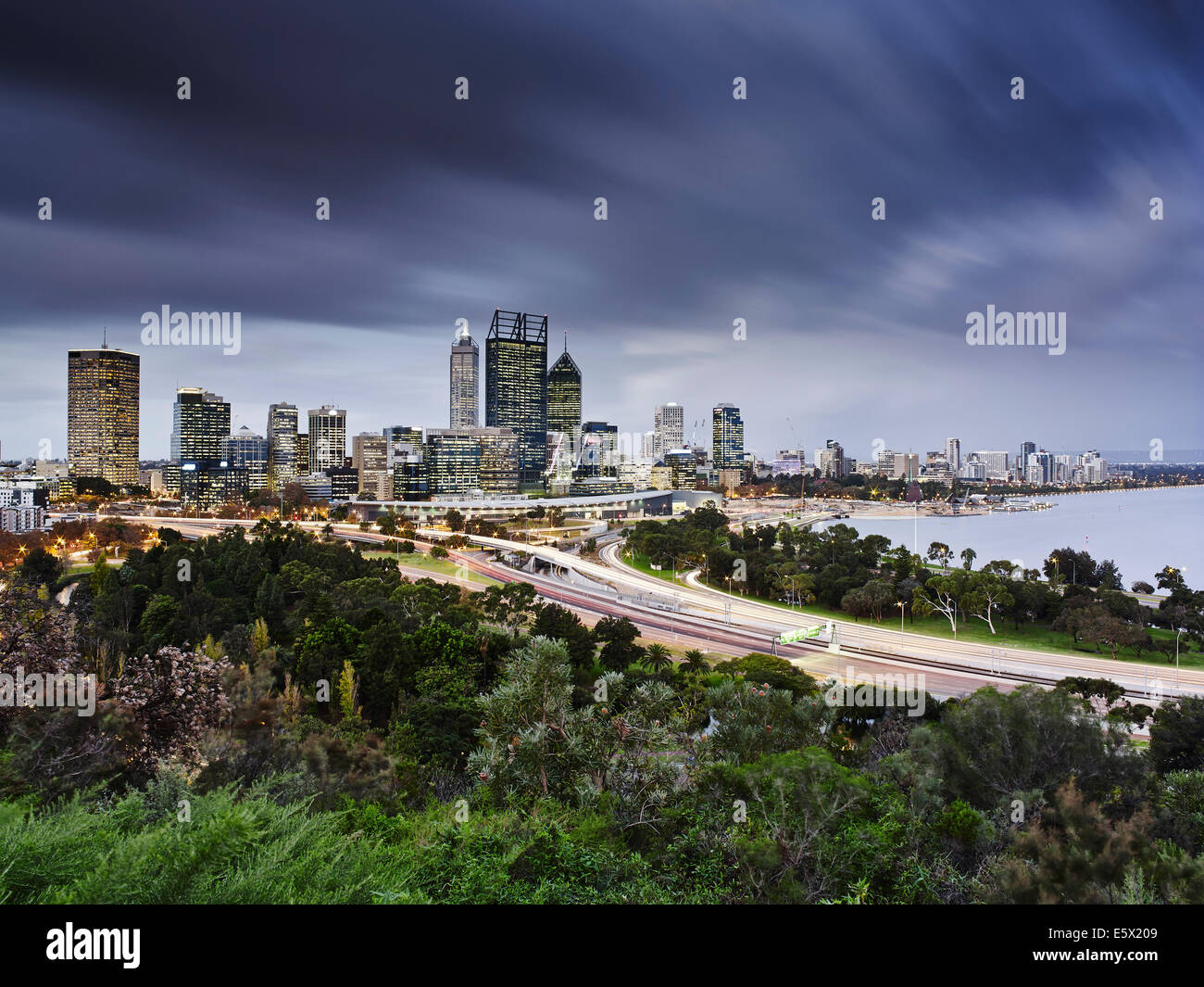 Perth skyline, viewed from Kings Park, Perth, Australia - Stock Image